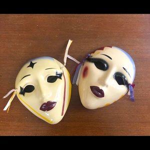 Ceramic Porcelain Mask Wall Decor - Set of 2